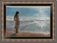 """Hand-painted Oil painting art Original Impressionism girl beach on Canvas 24x36"""""""
