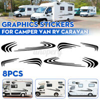 8x Stripes Graphics Stickers Decals For Motorhome Camper Van RV Caravan Black ^