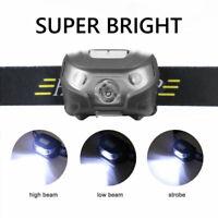 Lampada Frontale USB ricaricabile Torcia Led Luce Testa Per CACCIA PESCA Faro