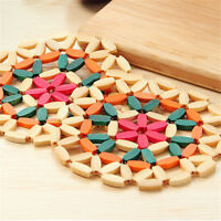 Round Bamboo Placemat Insulation Pads Coasters Hollow Wooden Pot Cup Mat T THO