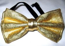 Unisex Adult Kids Metallic Gold Champagne Adjustable Strap Bow Tie-Brand New!
