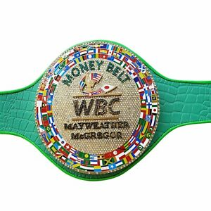 SH WBC Emerald Money Belt for Mayweather vs. McGregor Boxing Synthetic Leather