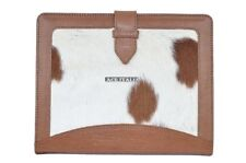 New Cover Case Stand iPAD 2 3 & 4 Tan Cow Fur Print Luxury Genuine Leather