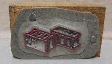 Vintage Letterpress Printing Block 2 Cinder Blocks