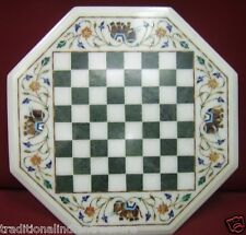 """13"""" Marble Coffee Chess Table Top Real Elephant Art Inlay Semi Mosaic Home Decor"""