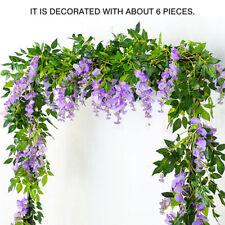 Hanging Artificial Silk Wisteria Fake Garden Flowers Plants Vines Decor Eyeful