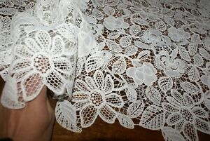 50cm 'WHITE FLORAL GARDEN' LACE FABRIC, Med-Weight, Exclusive, Sewing Material