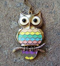 """Articulated OWL PENDANT with Multicolored Enamel, on 31"""" Chain"""