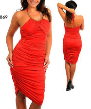 B69 Ladies Red Size 22/24 Evening Ruched Halter Gold Bodycon Stretch Dress Plus