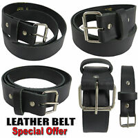 MENS REAL GENUINE LEATHER HIGH QUALITY STYLISH JEANS TROUSER WAIST BELT CASUAL