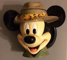 Disney 1998 Safari Mickey Mouse Plastic Mug - Hat Makes the Lid-Always Displayed