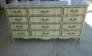 Vintage French Provincial 12 Drawer Dresser Ivory Gold Sears Bonnet Collection