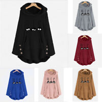 Plus Cat Fleece Size Button Hoodie Tops Embroidery Women Warm Sweater Blouse