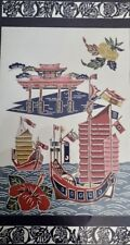 Asian Fabric Art Panel Oriental Harbor Scene with Boats 29x17 Bamboo Style Frame
