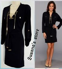 MICHAEL KORS LONG SLEEVE BELTED CHAIN SHIRT DRESS SIZE XS/S Beautiful and classy