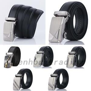 Mens Leather Belt Automatic Buckle Ratchet Waistband Leisure Business 6colors