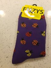 Ladybug Beetle Bug Insect Fly Aphids Luck Animal Foozys Women's Socks 9-11 S25