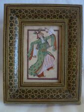 "OLD PERSIAN MINIATURE FRAMED PAINTING DANCING WOMAN  - ARTIST SIGNED ""I.SUAR"""