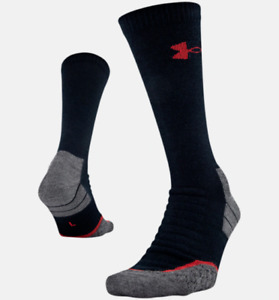 Under Armour All Season Wool Boot Sock Men's Large Black/Steel Gray 1292832 NEW