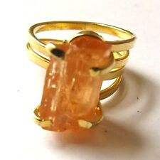TOPAZ RING REAL BRAZILIAN RAW UNCUT GEMSTONE GOLD PLATED. ADJUSTABLE ALL SIZES
