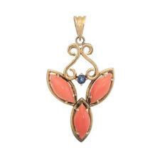 Coral Sapphire Pendant Vintage 14k Yellow Gold Estate Fine Jewelry Heirloom