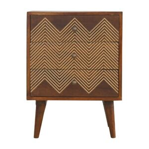 Solid Wood Retro Art Deco Style Brass Chevron 3 Drawer Bedside Side Table Chest