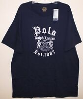 Polo Ralph Lauren Big & Tall Mens Navy Blue Polo Est. 1967 Crest T-Shirt NWT 1XB