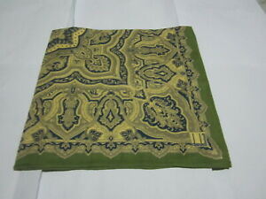 "USED YELLOW WITH GREEN PAISLEY PATTERN COTTON 20""HANDKERCHIEF POCKET SQUARE MEN"