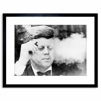 Vintage Photo B&W Jfk Kennedy Smoking Cigar Framed Art Print 9x7 Inch