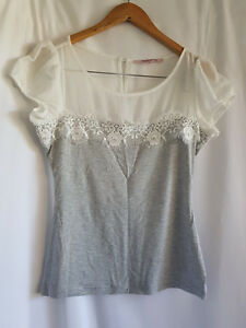REVIEW, SIZE 8, GREY/WHITE, SHORT SLEEVE TOP