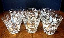 Vintage (Set of 6) Low Ball Whiskey glasses Turquoise White Gold Butterflies 8oz