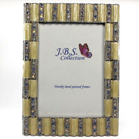 Bejeweled column pattern photo frame, enamel painted with crystals in pearl 4x6