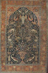 Antique Pre-1900 Animal Design Tebriz Vegetable Dye Hand-knotted Area Rug 10x13