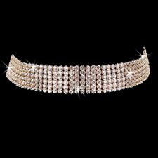 6-Line Round Brilliant Cut Cz Cubic Zirconia Choker Tennis Necklace Gold Plated