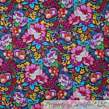 New listing BonEful Fabric Cotton Quilt Antique Rainbow Flower Bright Color Mexican Nr Scrap
