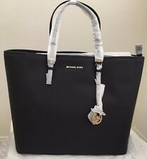 NWT!! Michael Kors Jet Set Travel Extra Large Leather Tote Bag Purse $328 Black