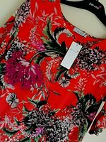 LADIES M&S PER UNA SIZE 6 RED MIX FLORAL TOP FREE POST
