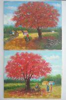 (2) Landscape Flamboyant Tree Painting on Canvas 20 x 24 E. Vidal 2006 Signed