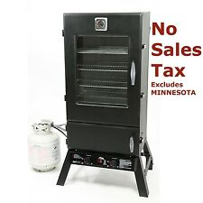 New 8,250 BTU Large Propane Outdoor BBQ Smoker 2 Burner Wood Chip Pans W/Cover