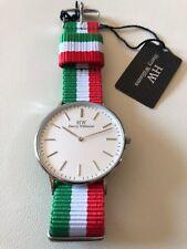 Orologio Harry Williams NUOVO unisex in acciaio bianco e tela bandiera italia