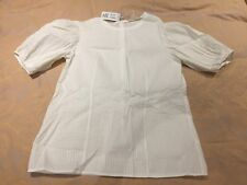 BNWT Cos Puffed Sleeves Cotton White Blouse / Top UK 16