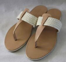 COUNTRY ROAD ~ Beige & Ivory Plaited Strap Thong Toe Flat Slides Sandals 42 11