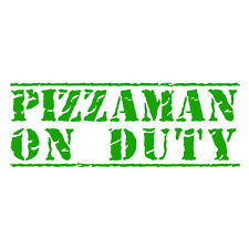Pizzaman de servicio de entrega de pizza coche divertido van parachoques Autoadhesiva de hierba verde