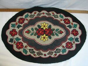Antique Oval Hooked Rug Art Kitchen Mat Hand Made Floral Flowers Garden Runner O