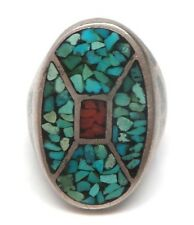Old Pawn Navajo Turquoise & Coral Chip Inlay Sterling Silver Ring Size 10