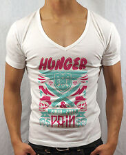 MENS DEEP V NECK T-SHIRT HUNGER & PAIN SKULL MUSCLE TOP GEORDIE SHORE