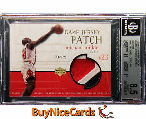 1999-00 Michael Jordan Upper Deck Game Jersey 3 Color Patch Super /25 BGS 8.5