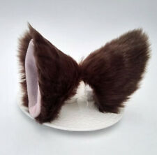 Cat Fox Long Ears Neko Costume Hair Clip Halloween Cosplay Brown
