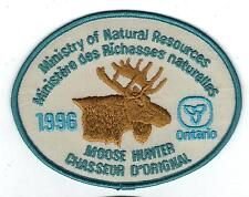 1996 ONTARIO MNR MOOSE HUNTER PATCH-MICHIGAN DNR DEER-BEAR-ELK-CREST-BADGE-FISH