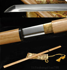 39' DAMASCUS FOLDED STEEL WHITE WOOD JAPANESE SWORD BLADE VERY SHARP